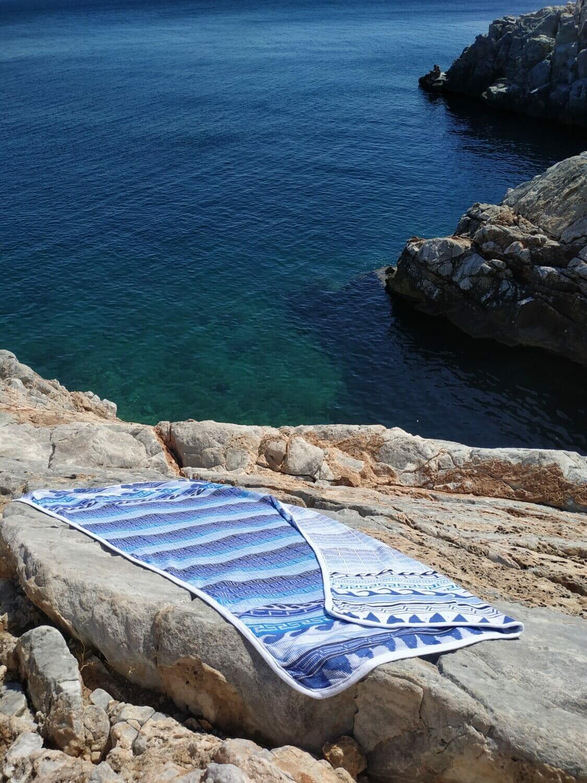 meandros beachtowel white greek rock